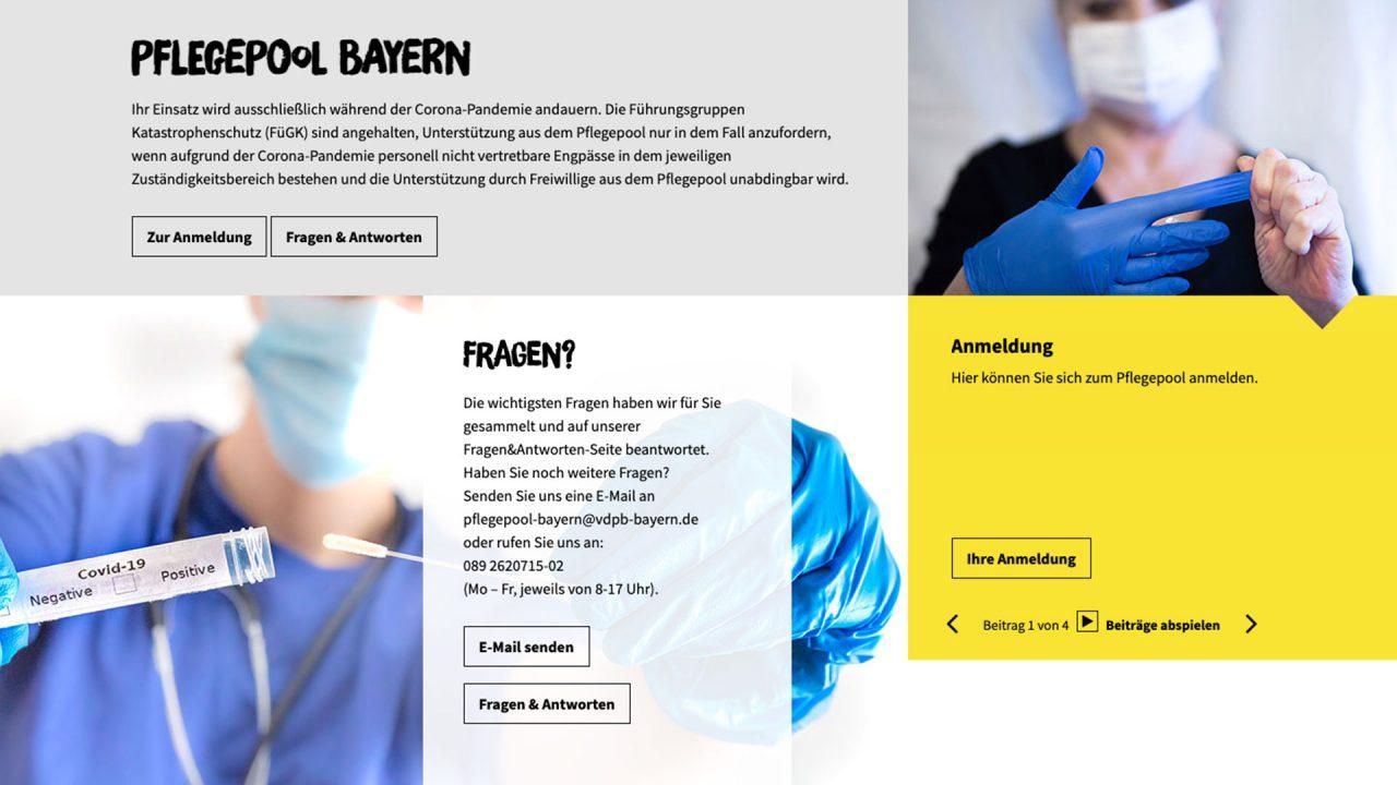 Ausschnitt der Startseite des Pflegepool Bayerns